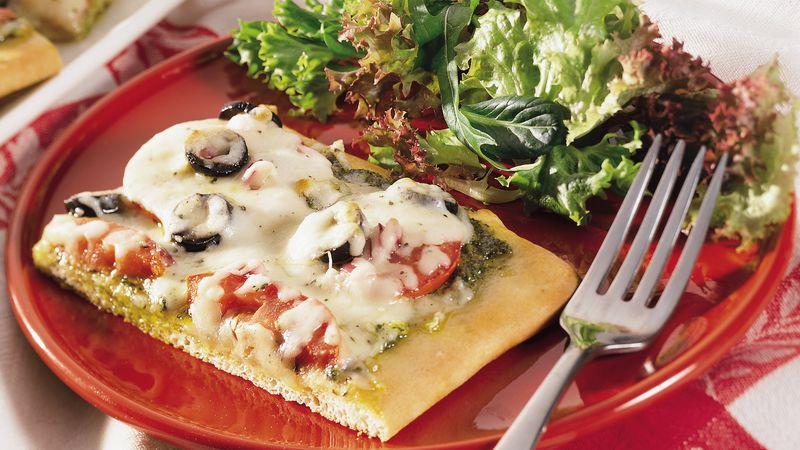 Tomato-Olive-Pesto Pizza