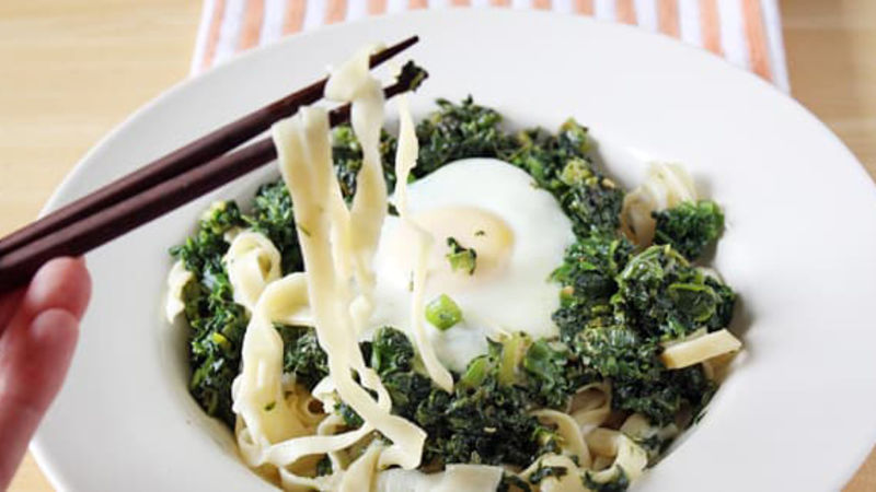 Homemade Ramen Noodles with Poached Eggs and Sauteed Greens