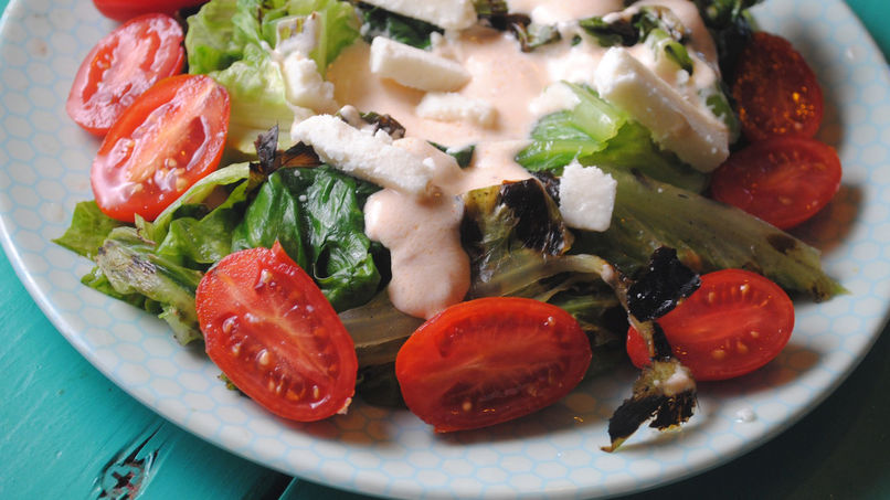 Grilled Romaine Salad with Spicy Dressing
