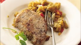 Slow-Cooker Pork Chops with Cheesy Corn Bread Stuffing
