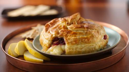 Brie in Puff Pastry with Cranberry Sauce image