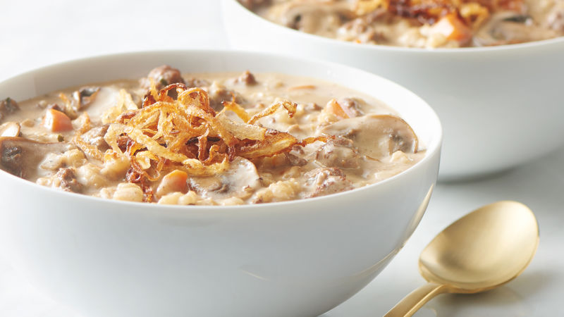 Creamy Beef, Barley and Mushroom Soup with Frizzled Onions