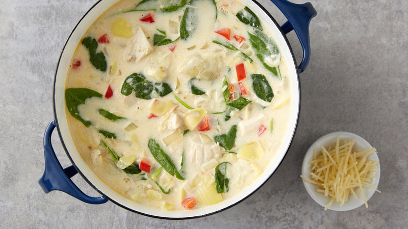 Creamy Spinach-Artichoke Chicken Soup