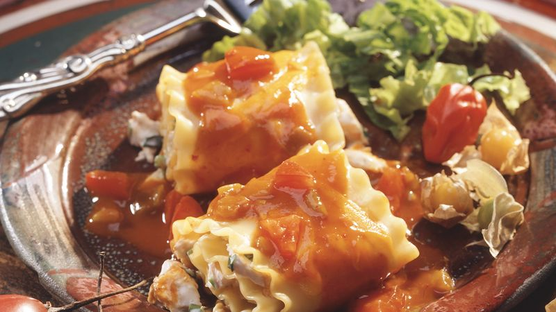 Chicken Enchilada Lasagna Bundles