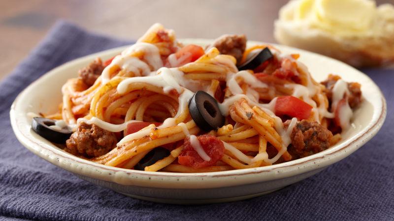 Skillet Spaghetti Pizza