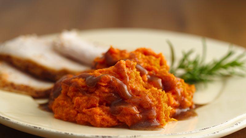 Mashed Sweet Potatoes with Cinnamon-Brown Sugar Sauce