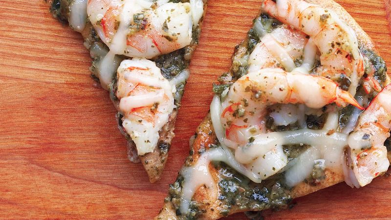 Skinny Pesto Shrimp Pizza