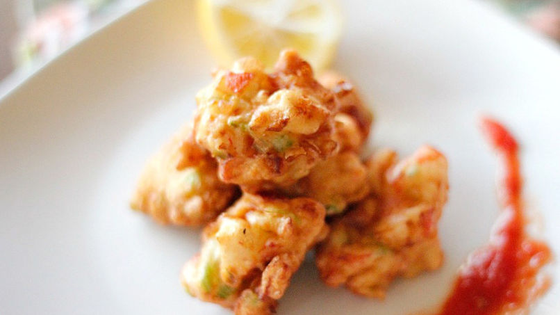 Crab Fritters with Spicy Red Sauce
