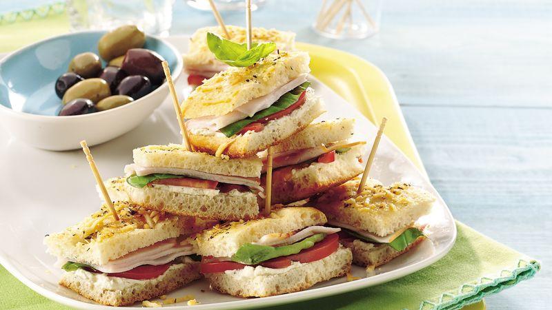 Basil-Turkey Mini Focaccia Sandwiches