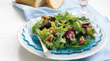 Mixed Greens Salad with Warm Walnut Dressing
