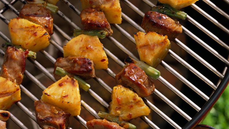 Pork-Pineapple Kabobs with Plum-Ginger Glaze