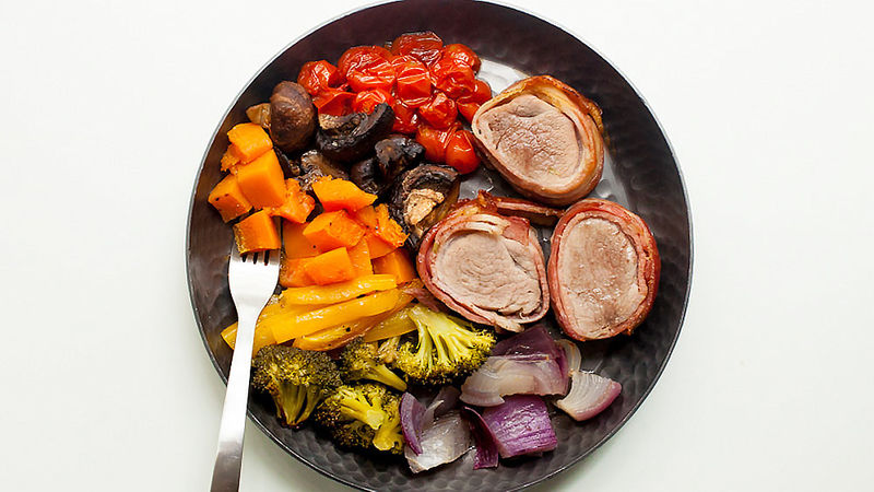 Bacon-Wrapped Pork Tenderloin with Rainbow Roasted Veggies