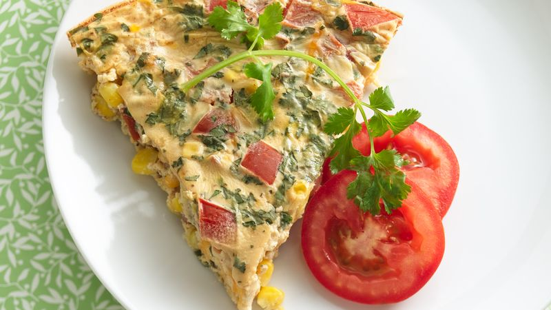 Corn, Cheddar and Tomato Quiche