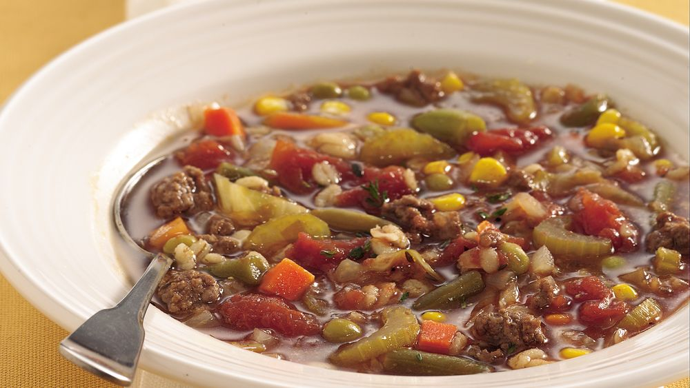 Vegetable, Hamburger and Barley Soup