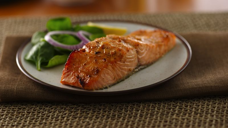 cbe34346b492 Honey Mustard Glazed Salmon Recipe - BettyCrocker.com