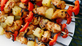 Teriyaki Chicken, Pineapple and Red Pepper Kabobs