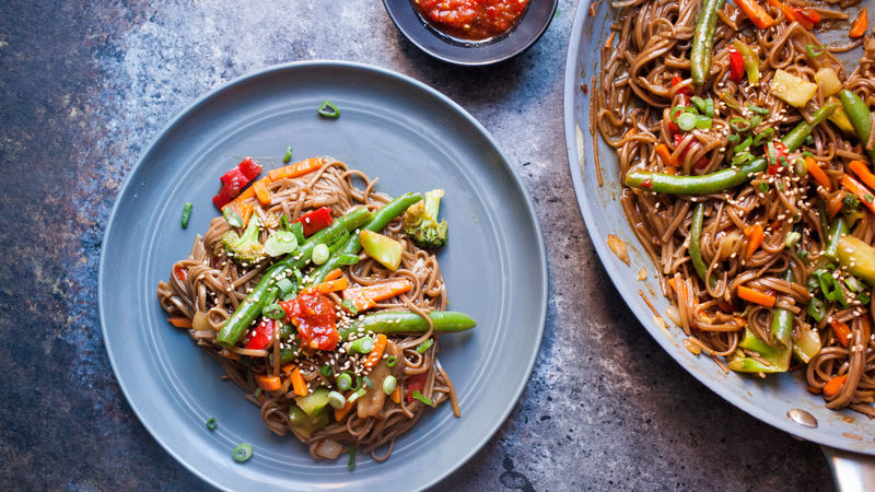 Spicy Soba Noodle Veggie Stir Fry Recipe Tablespoon Com
