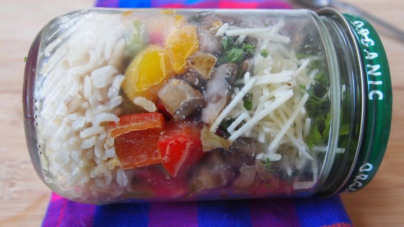 Brown Rice and Vegetable Pilaf in a Jar
