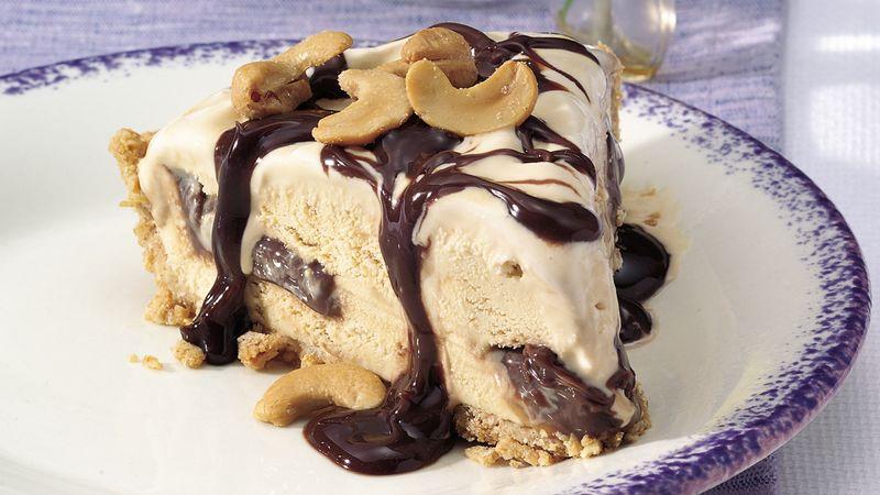 Cashew-Fudge-Caramel Ice Cream Pie