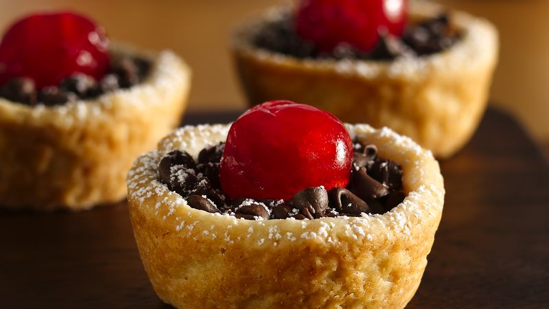 Cherry-Topped Chocolate Tassies