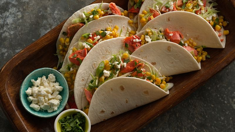 Broiled Salmon Soft Tacos with Green Onion and Corn Salsa