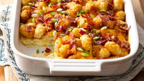 impossibly easy bacon egg and tot bake with make ahead directions