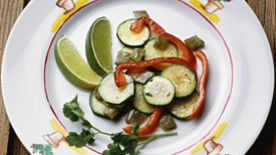 Cactus, Zucchini and Red Pepper Salad