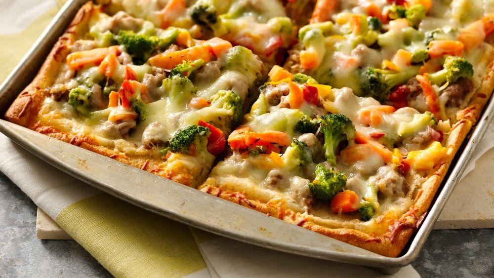 White Bean Sausage and Veggie Pizza