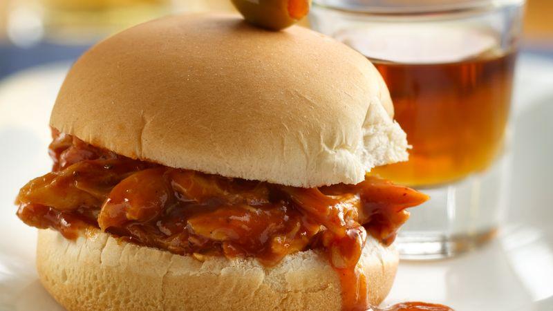 Whiskey And Beer Bbq Chicken Sliders Recipe Pillsbury Com