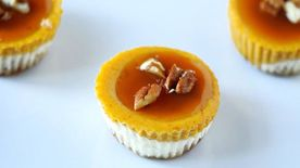 3-Layer Caramel Pecan Pumpkin Cheesecake Bites