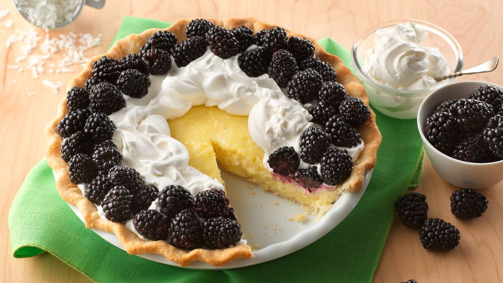 Coconut Cream and Blackberry Pie