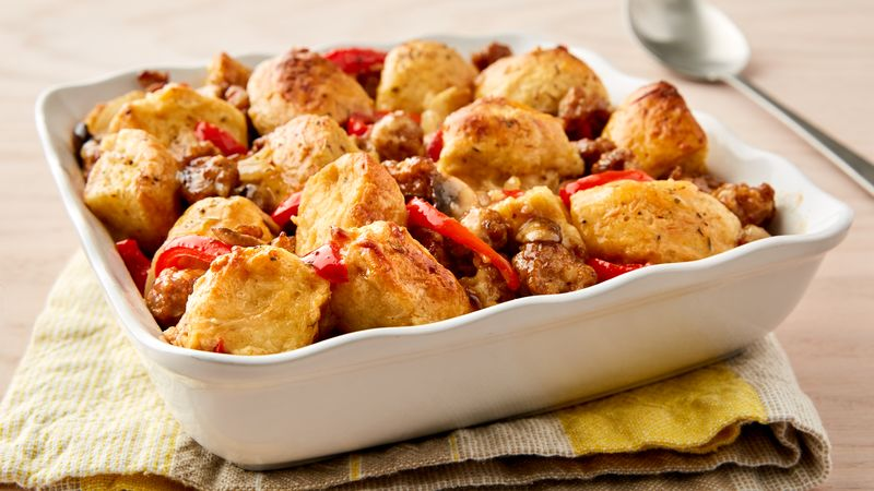 Sausage and Egg Biscuit Bake