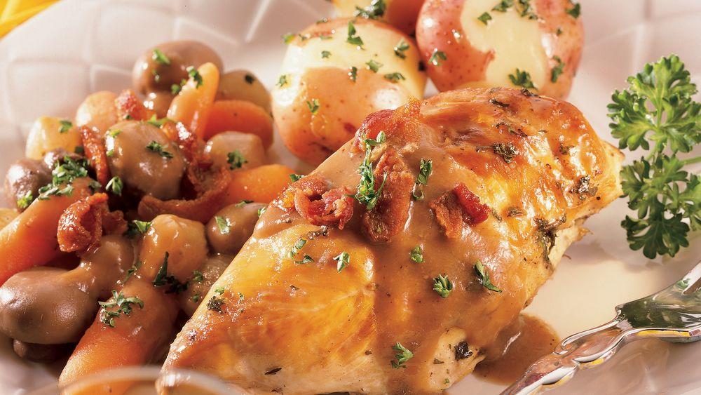 Slow-Cooker Chicken in Wine Sauce