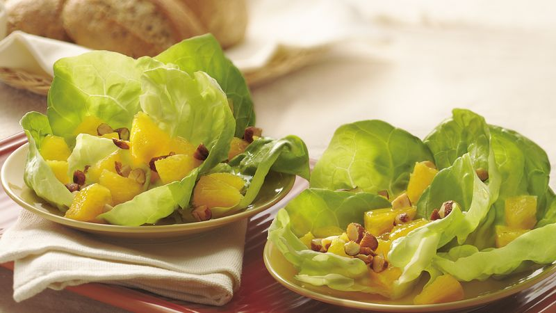 Orange-Almond Salad in Lettuce Cups