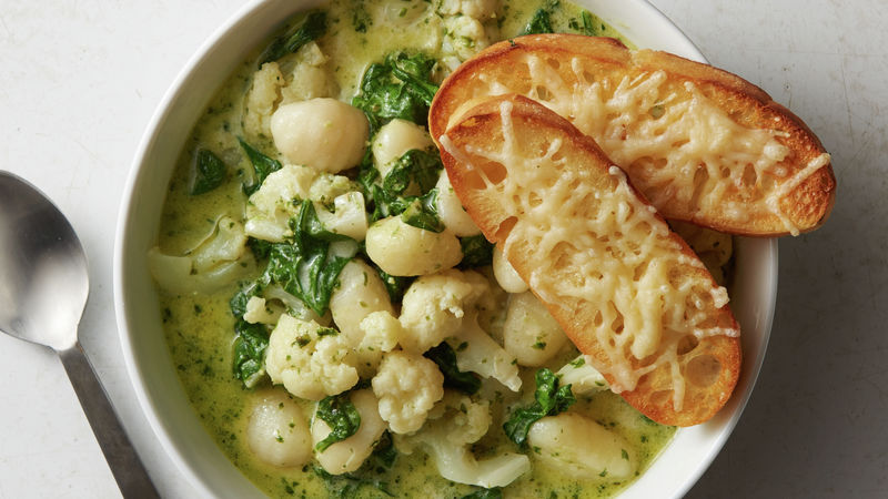 Cauliflower Pesto Gnocchi Soup with Parmesan Croutons