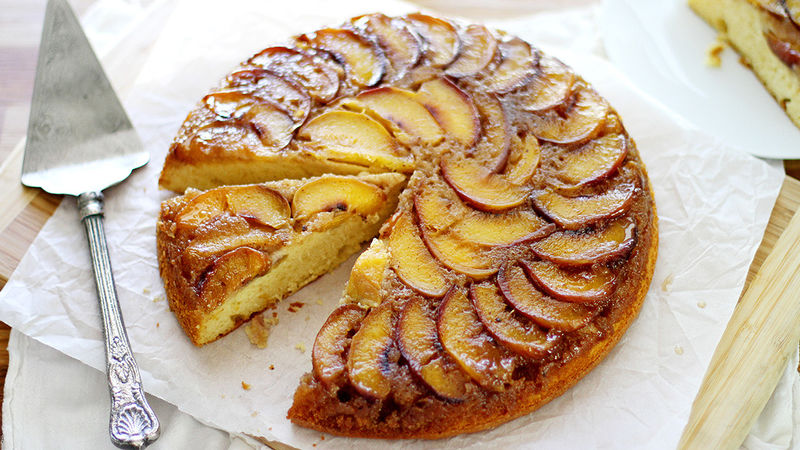 Upside Down Skillet Grilled Peach Cake