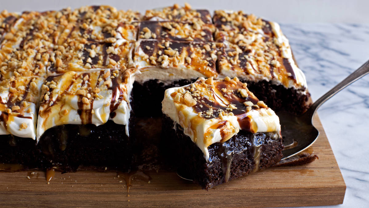 Chocolate-Caramel-Peanut Poke Cake