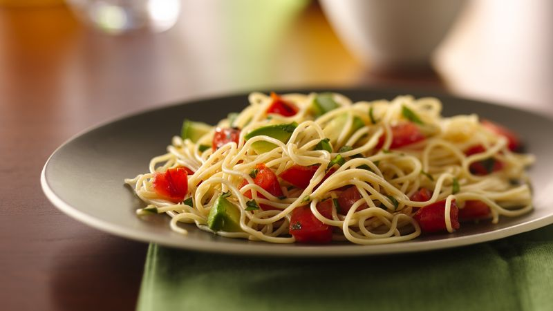 Angel Hair Pasta with Avocado and Tomatoes Recipe - BettyCrocker.com