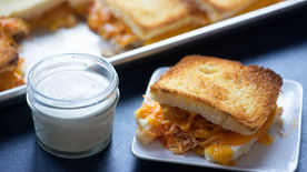 Sheet-Pan Buffalo Chicken Grilled Cheese