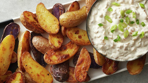 Caramelized Onion Dip with Roasted Fingerling Potatoes