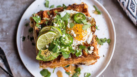 Cheese-Stuffed 3-Cheese and Chorizo Savory Waffles