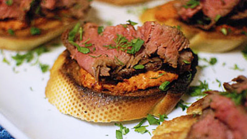Steak and Harissa Crostini