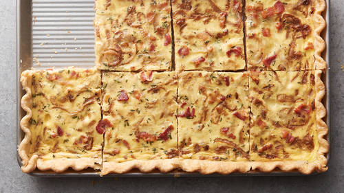 Caramelized Onion, Bacon and Swiss Cheese Slab Quiche