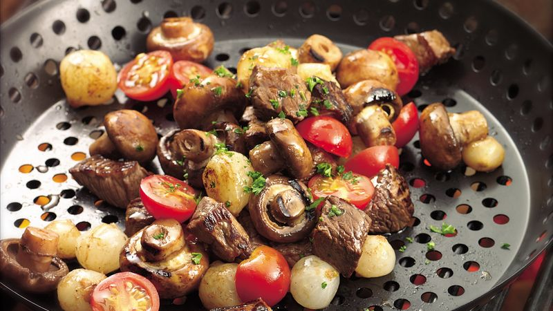 Grilled Veggie and Steak Appetizer