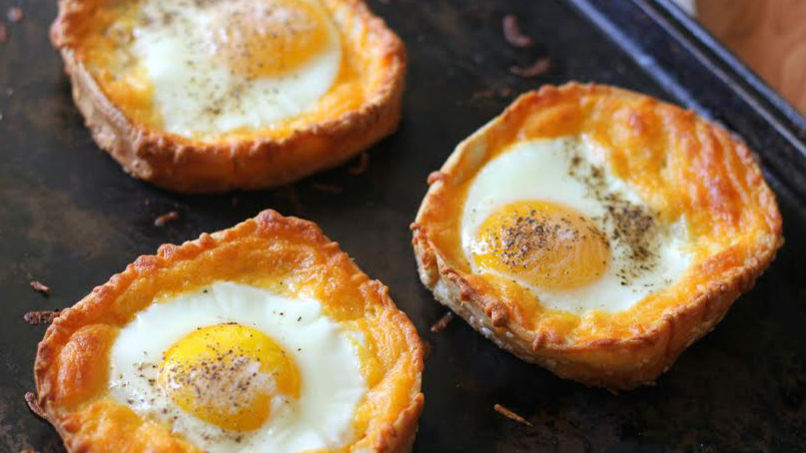 Baked Tostadas with Eggs and Cheese