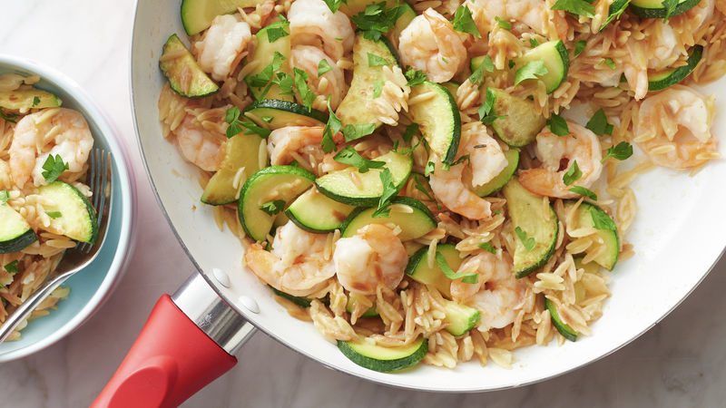 Lemon Garlic Shrimp Orzo Skillet