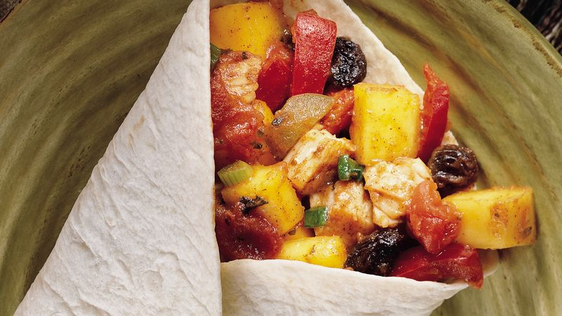 Turkey-Mango Picadillo Wraps