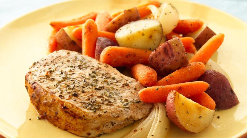 Herb Roasted Pork Chops and Vegetables