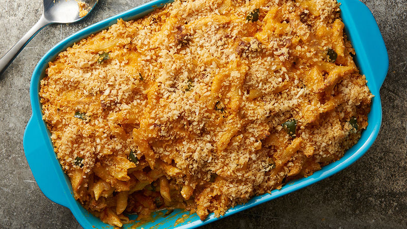 Chicken Chorizo and Poblano Pasta Bake