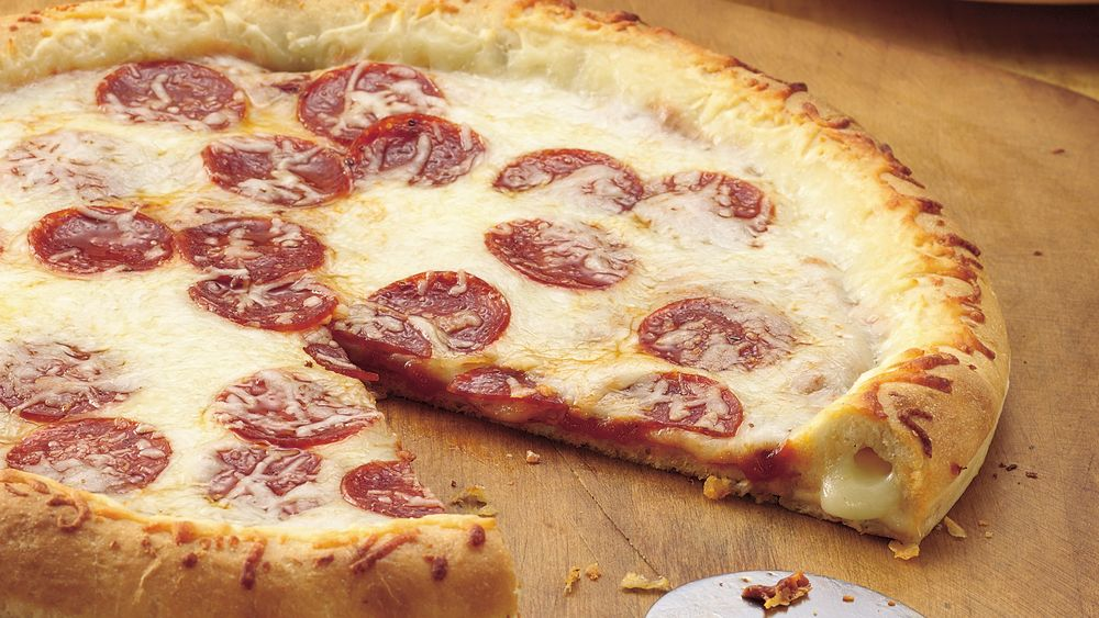 Stuffed-Crust Pizza recipe from Pillsbury.com Stuffed Crust Pizza